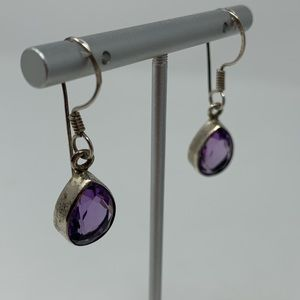 Genuine Pear Shaped Amethyst Sterling Earrings